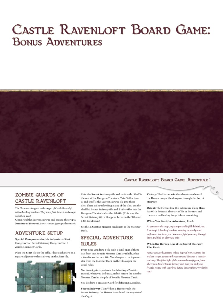 Castle Ravenloft Bonus Adventures Pdf Fantasy Leisure