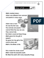 Grade 1 Islamic Studies - Worksheet 1.3 - Allah is the Giver of Life - Part 2
