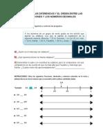 Orden de Fracciones y Decimales en La Recta Numérica