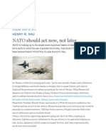 NATO Should Act Now, Not Later