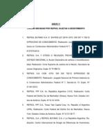 Juicios contra YPF, según el Anexo V del convenio