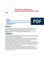 Cultura, Identidad Cultural, Patrimonio y Desarrollo Comunitario Rural Latinoamérica Siglo XXI