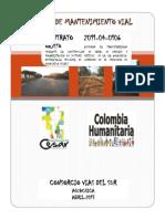 Manual_Mantenimiento_Vial, Via Aguachica-La Yee-Loma de Corredor en El Departamento Del Cesar