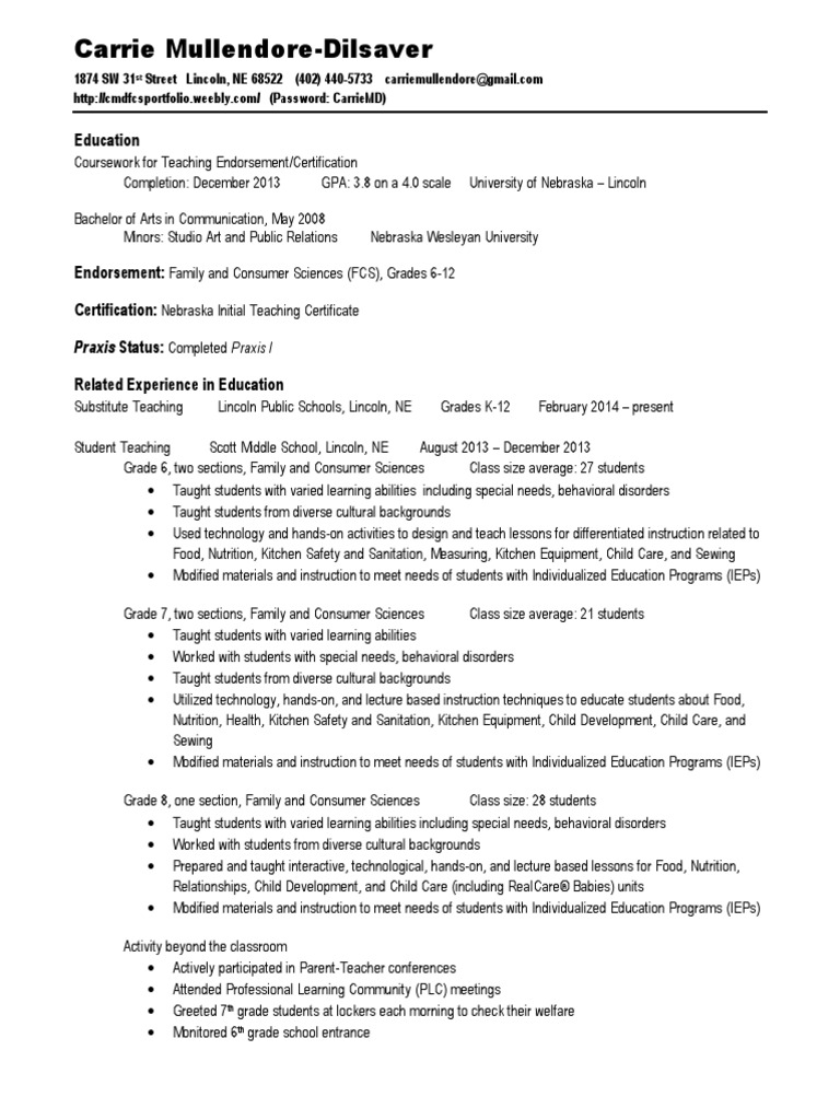 Resume Mullendoredilsaver 041414 Home Economics Individualized