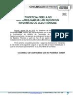 130 Contingencia Por La No Disponibilidad de Los Servicios Informaticos Electronicos
