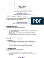 IT Database Administrator Cv TemplateIE