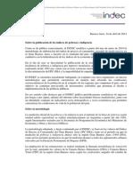 Comunicado de justificación Indec sobre no publicación de indices de pobreza e indigencia