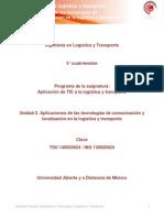 Unidad 2. Aplicaciones de Las Tecnologias de Comunicacion y Localizacion en La Logistica y Transporte