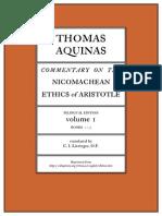 Thomas Aquinas Commentary on Aristotle's Ethics 1 Books 1 to 5