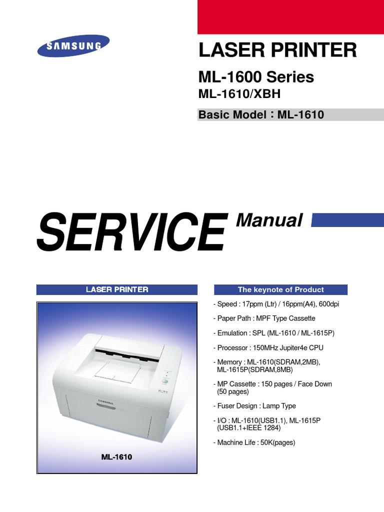 samsung ml 1610 ml 1600 service manual repair guide