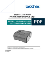 Brother HL 2030 2032 2035 2037 2040 2045 2070 2075 Parts Manual