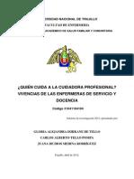 INFORME INVESTIGACION 2012 Quién Cuida a La Cuidadora Profesional