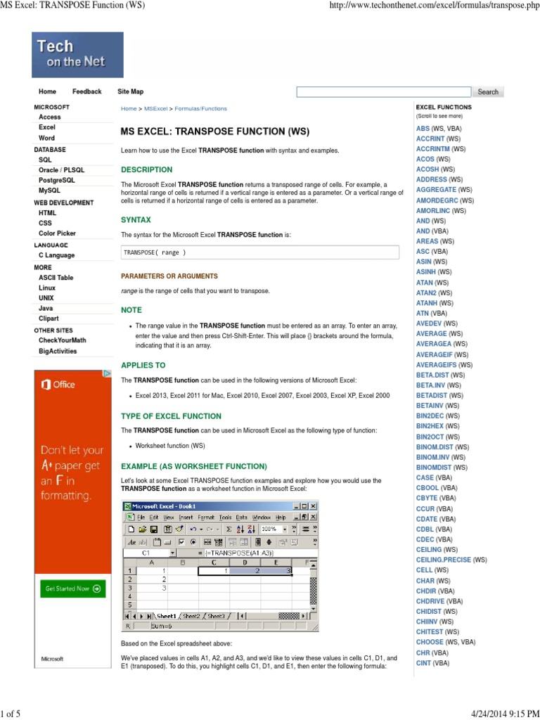 Ms excel transpose function ws visual basic for applications ms excel transpose function ws visual basic for applications microsoft excel ibookread Download
