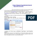 Cara Membuat Nomor Halaman Yang Berbeda Posisi Di Microsoft Word 2007