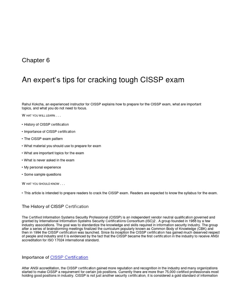 Expert Tips To Clear Cissp Exam Access Control Test Assessment