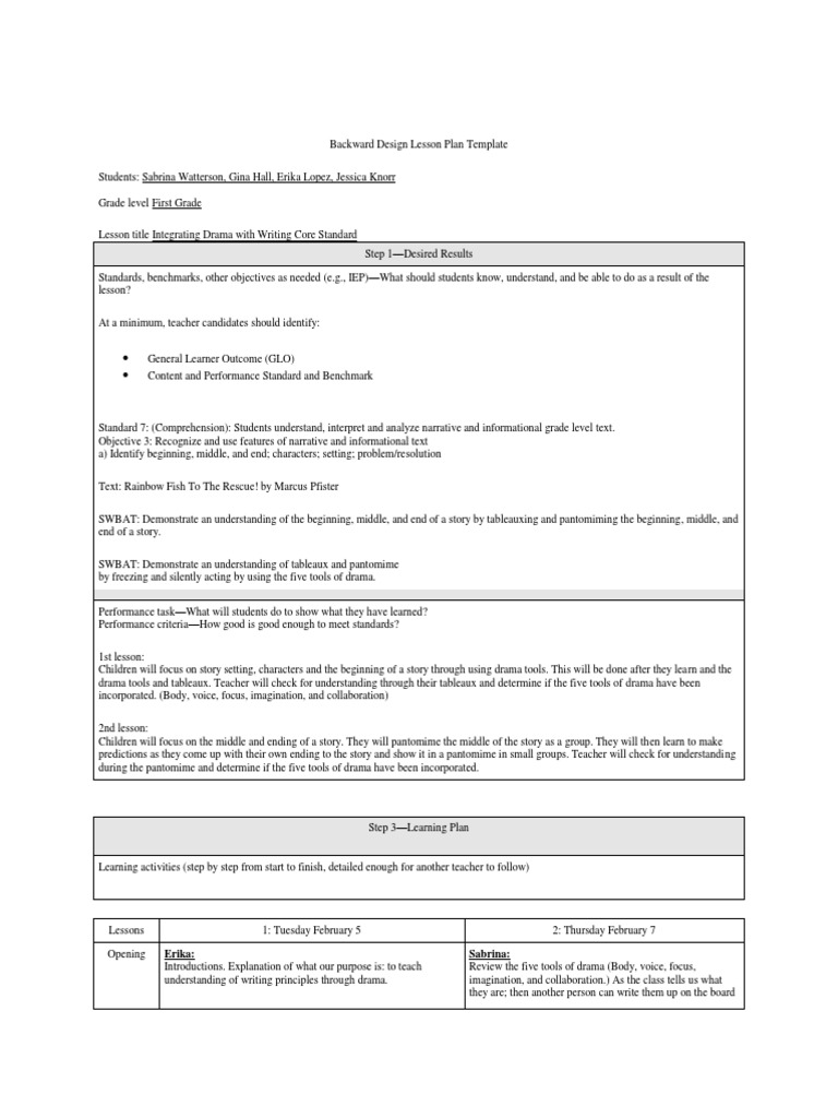 Drama Lesson With Reflection Teaching Method Educational - Understanding by design lesson plan template
