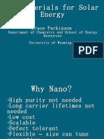 Nanomaterials for Solar Energy