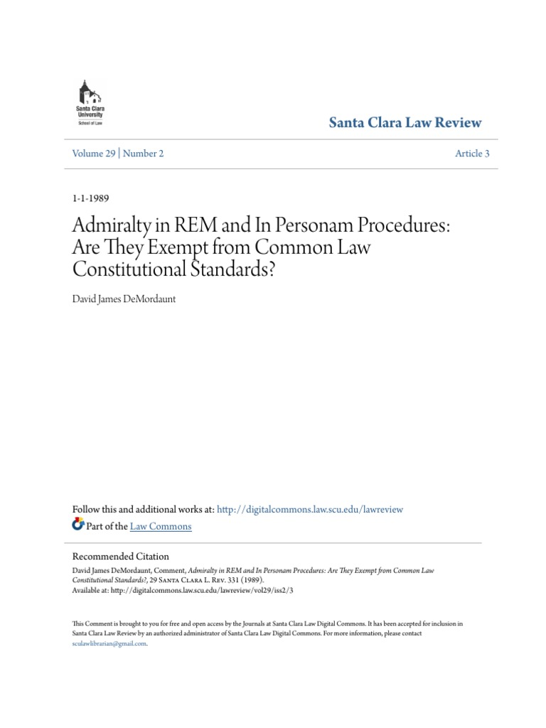Admiralty in REM and in Personam Procedures- Are They Exempt From | Admiralty  Law | Common Law