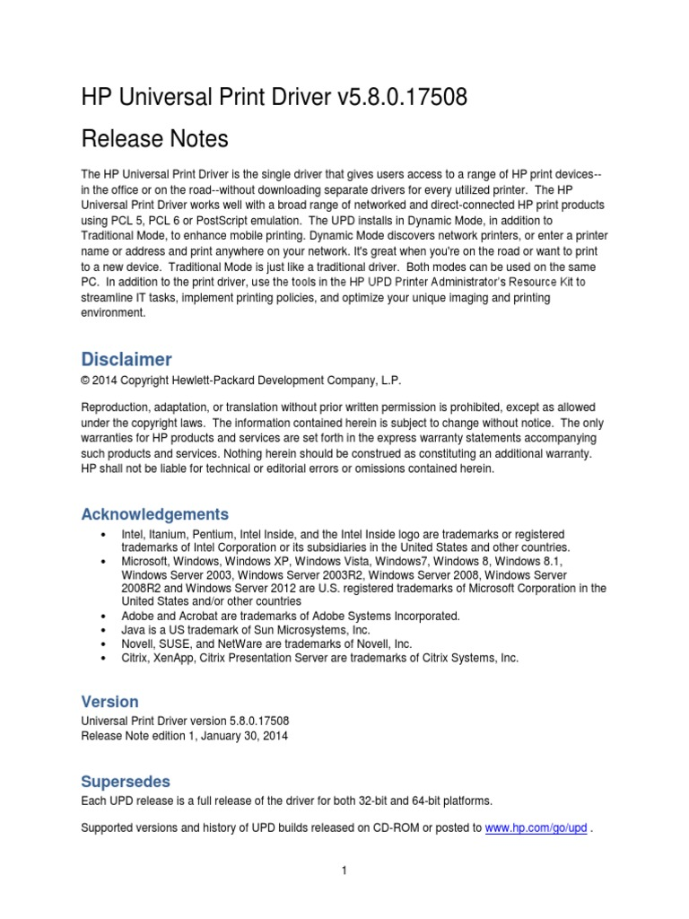 Hp universal print driver guide | microsoft windows | windows 8.