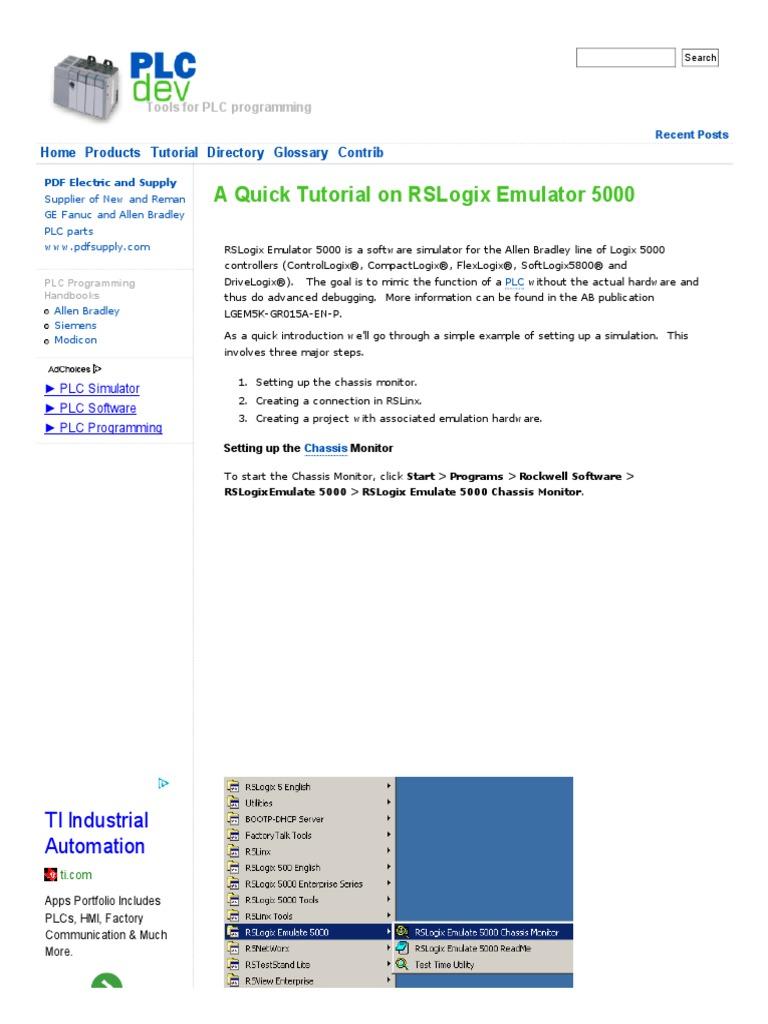 A Quick Tutorial on RSLogix Emulator 5000 _ PLCdev