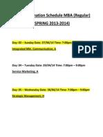 Final Examination Schedule MBA