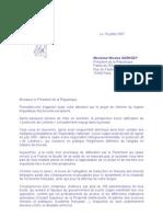 Lettre NDA Sarkozy protocole de Londres