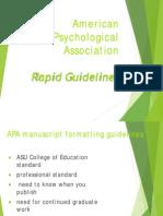 American Psychological Association Rapid Guidelines
