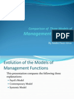Management Functions - Comparison of Three Models