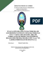 Evaluacion Del Efecto Bactericida Del Desinfectante