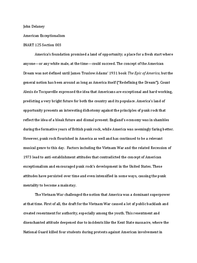 American Exceptionalism Essay  Hepatitze Punk Rock Essay Exceptionalism Punk Rock American Exceptionalism English Class Reflection Essay also Essay Writing Examples For High School  How To Write A Good English Essay