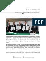 24-04-13 017 BOLETÍN - Firma Maloro Acosta acuerdo para regularizar propiedad de hospitales del IMSS