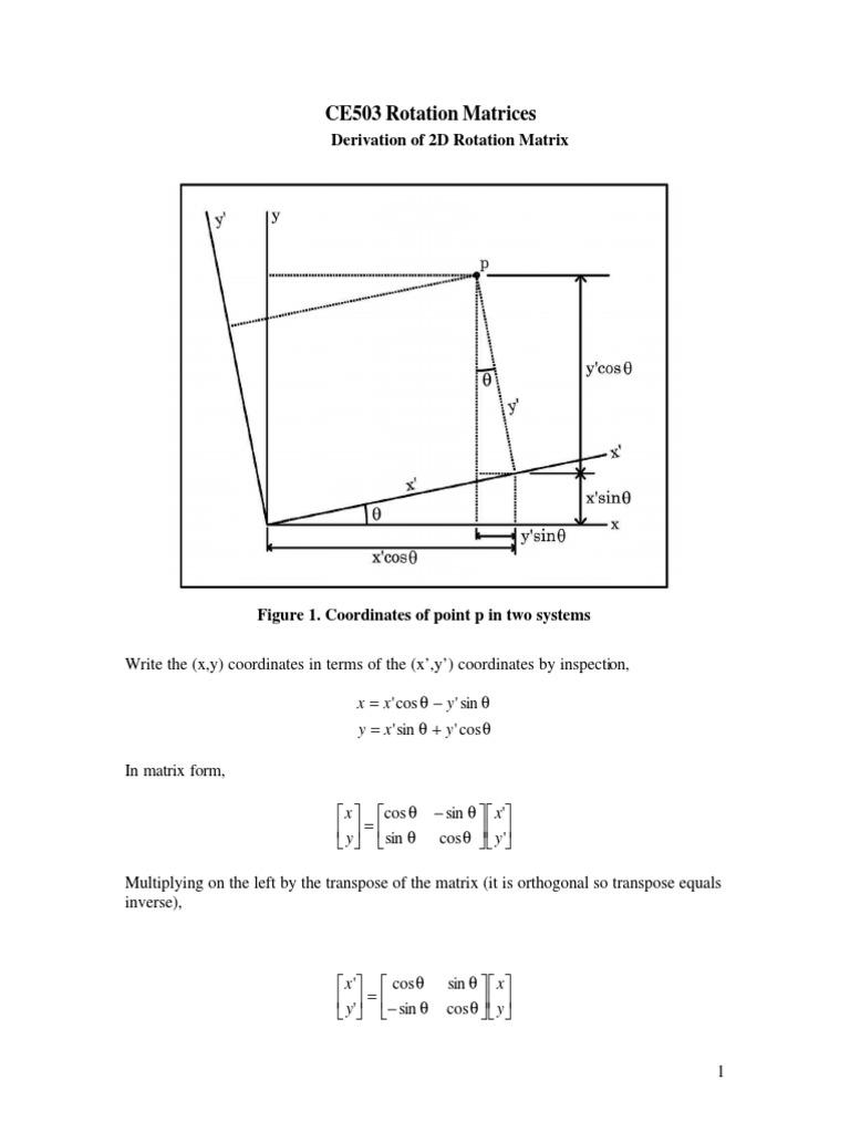 Rotational Matrix | Cartesian Coordinate System | 2 D