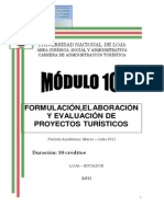 Módulo 10 Formulación Elaboración y Evaluación de Proyectos Turísticos1