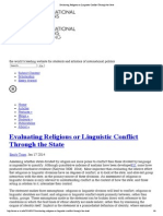 Evaluating Religious or Linguistic Conflict Through the State