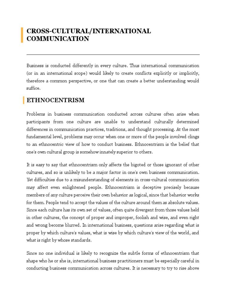 ethnocentric communication