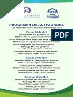 Programa de Actividades del Stand de la Vicepresidencia en la FIL2014