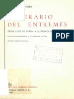 Itinerario Del Entremes Desde Lope de Rueda a Quinones de Benavente Con Cinco Entremeses de d Francisco de Quevedo