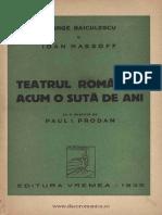 Ion Massof..Teatrul Romanesc Acum 100 de Ani