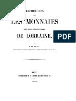 Recherches sur les monnaies des ducs héréditaires de Lorraine / par F. de Saulcy