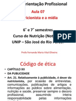 Aula 7 - Nutricionista e a Mídia