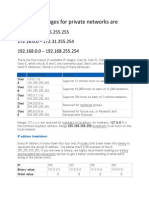 Ip Address Ranges for Private Networks Are