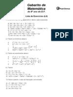 Gabarito Lista9 Matematica 8o Ano
