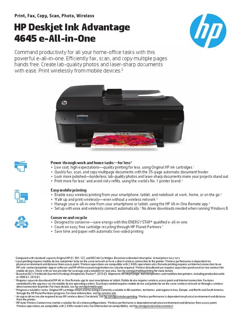 HP Deskjet Ink Advantage 4645 e-All-in-One: Print, Fax, Copy