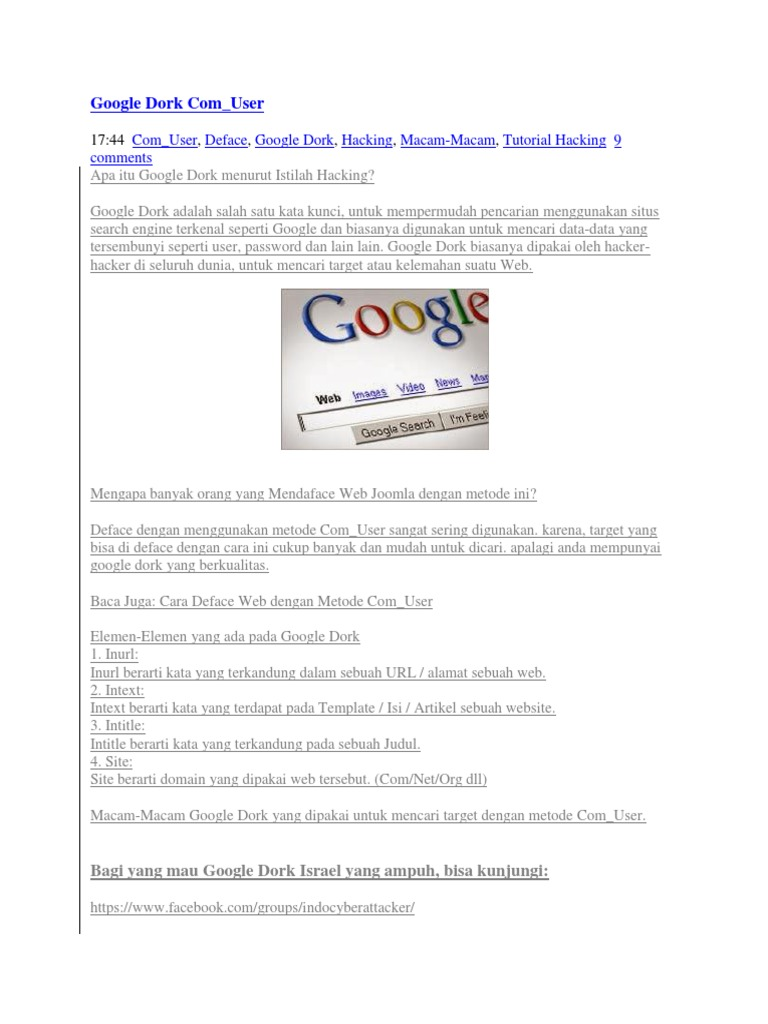 Google Dorks For Username And Password