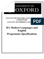 Oxford(2), Programme Specifications EML