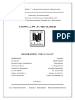 Claimant Memorandum, National Law University-Vis Vienna, 2014