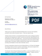 20Peter Morris - ~ has written to Minister regarding the provision of a refuge for male victims of domestic violence