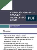 Aspirina În Preventia Recidivei Tromboembolismului Venos