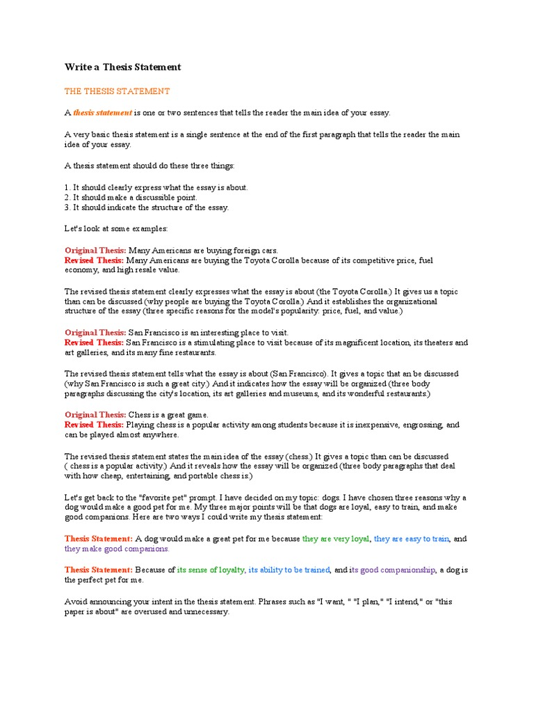 write a thesis statement  pet  essays