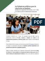 CEPAL y Unicef Plantean Políticas Para La Igualdad en Educación Secundaria